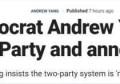 """""""两党垄断行不通""""退出美国民主党一天后,杨安泽宣布成立新政党"""