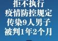 拒不执行疫情防控规定 广西传染9人男子被判1年2个月