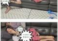 女星刘荷娜在家休息躺在公公大腿上,网友:关系好也得注意分寸吧